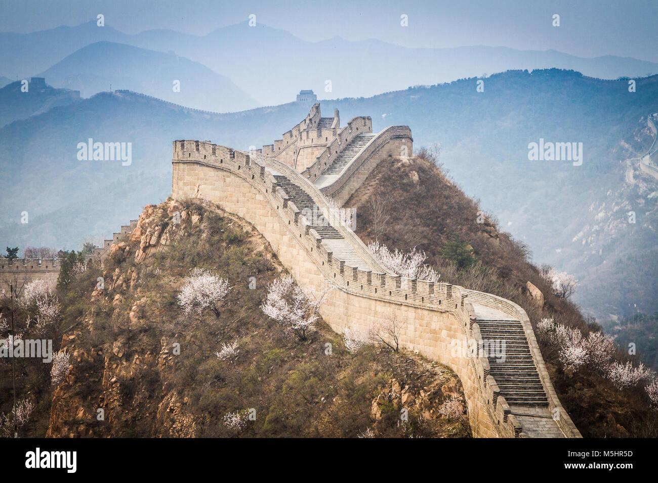 Die große Mauer von China, die Badaling Abschnitt Stockbild
