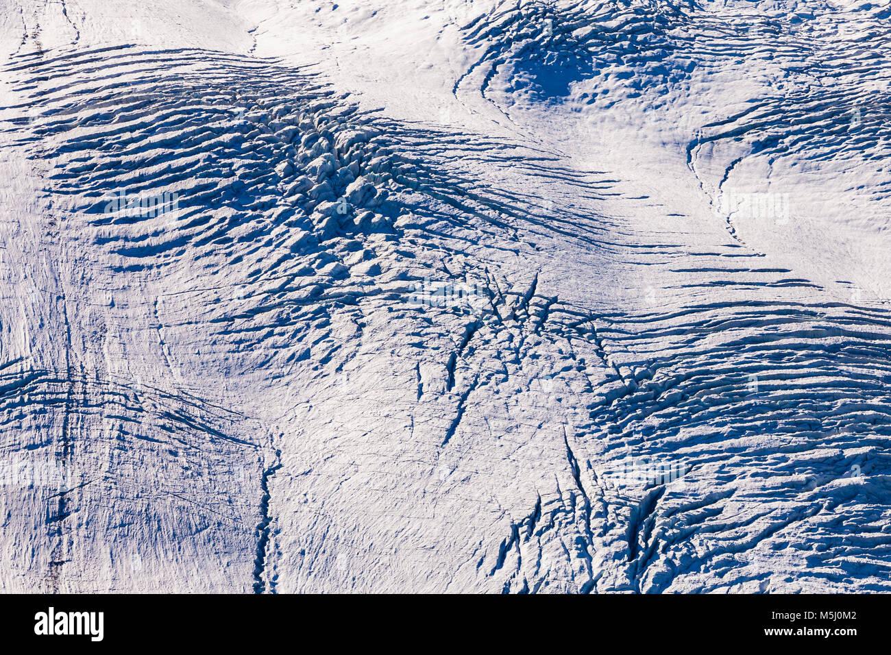 Schweiz, Kanton Wallis, Zermatt, Gornergletscher, Gletscher, Struktur, Eis, Schnee, Furchen, abstrakt Stockbild