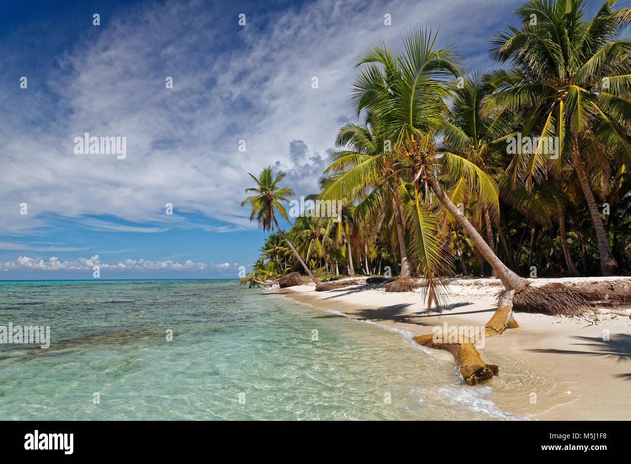 Karibik, Dominikanische Republik, Strand auf der karibischen Insel Isla Saona Stockbild