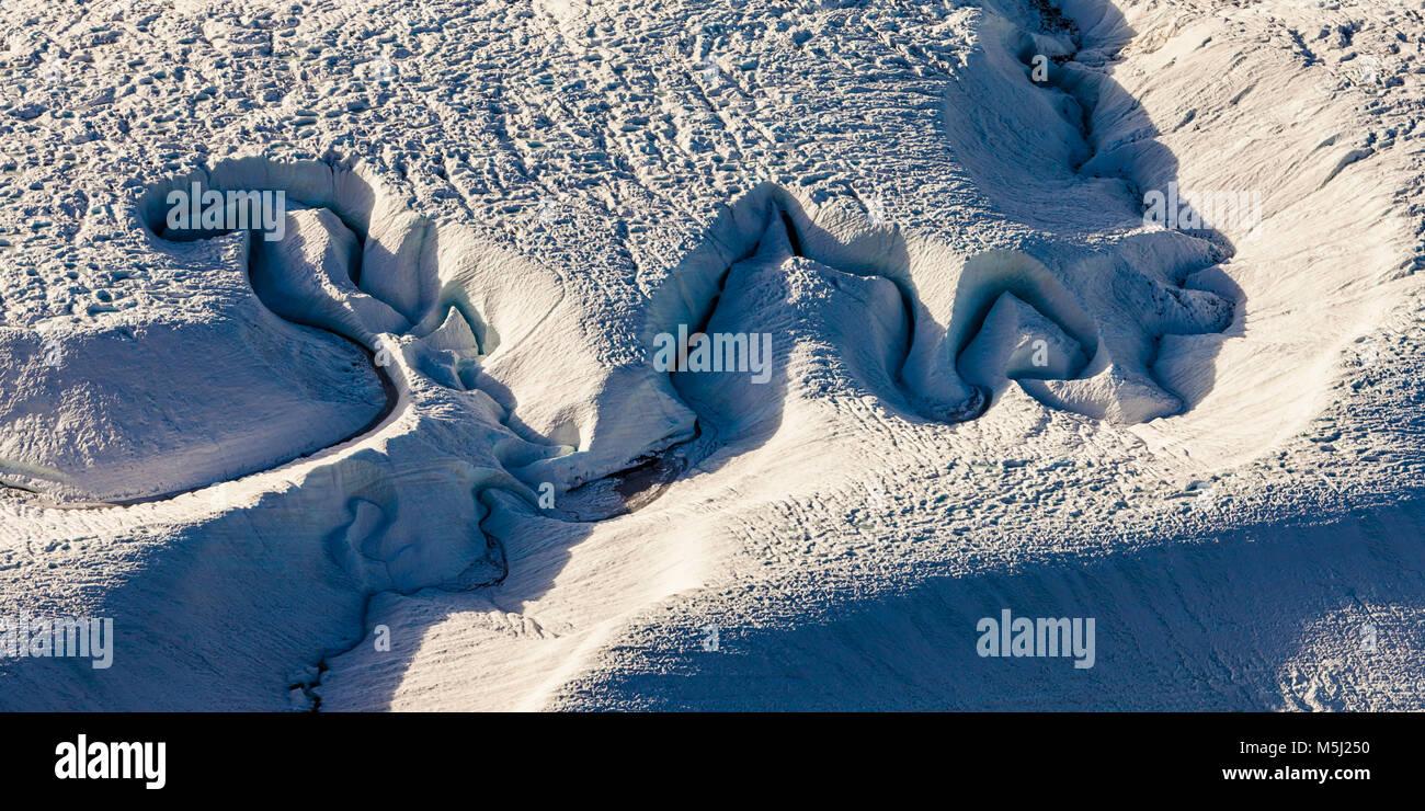 Schweiz, Kanton Wallis, Zermatt, Gornergletscher, Gletscher, Struktur, Eis, Schnee Stockbild