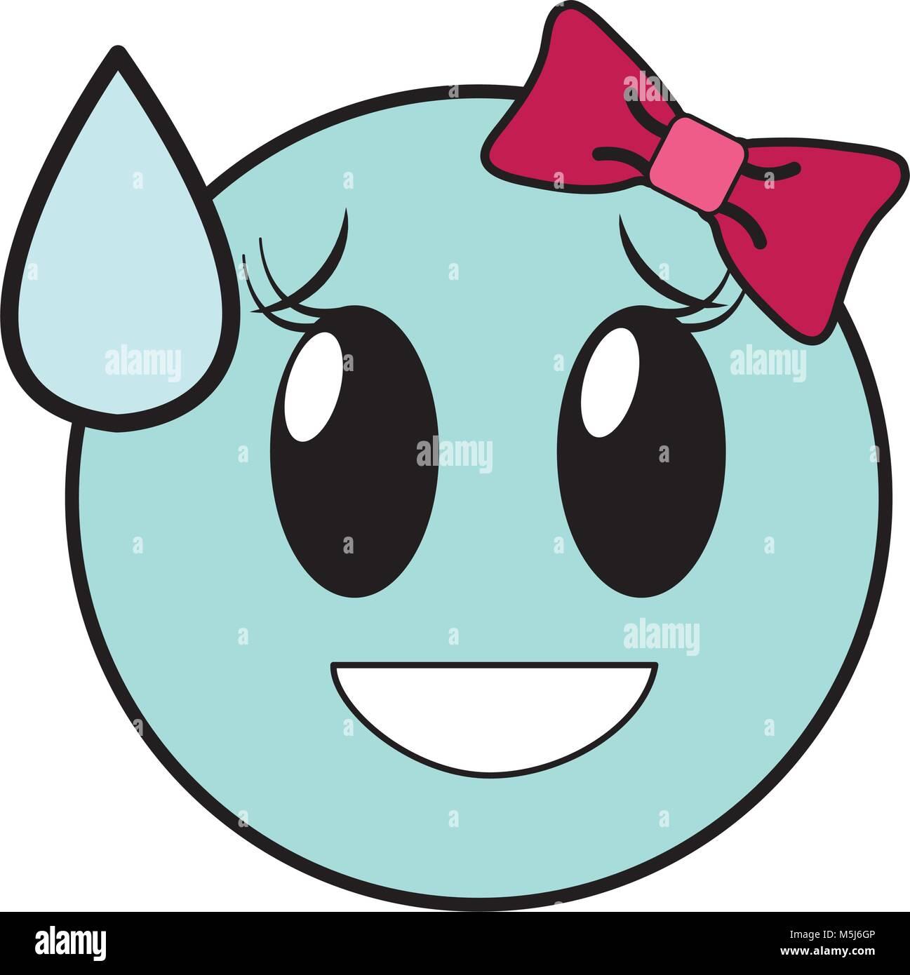 Linienfarbe Scham Lachen Weiblichen Emoji Ausdruck Mit Schleife Stock Vektorgrafik Alamy