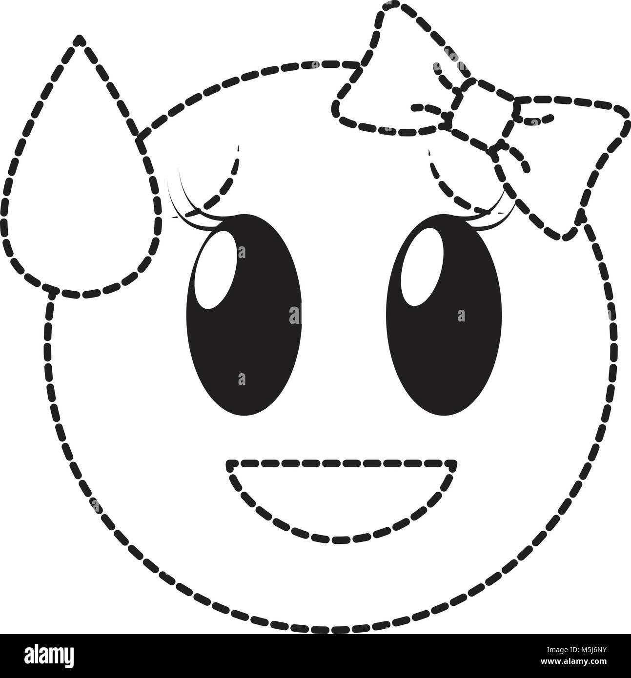 Gepunktete Form Scham Lachen Weiblichen Emoji Ausdruck Mit Schleife Stock Vektorgrafik Alamy