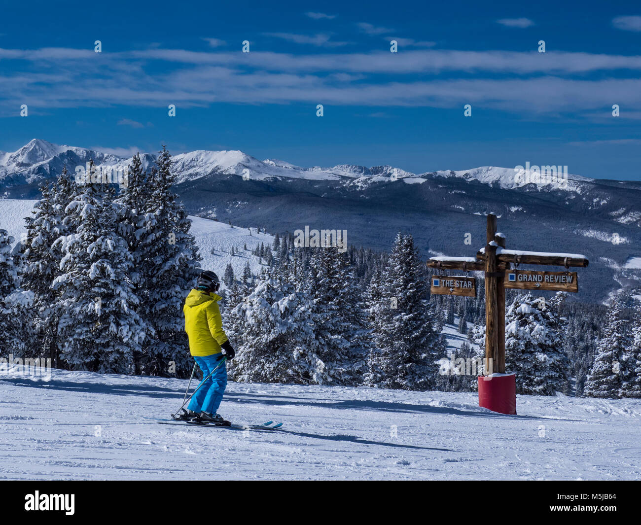 Kreuzung der Star und Grand Review Loipen, Winter, Blue Sky Basin, Skigebiet Vail, Vail, Colorado. Stockbild
