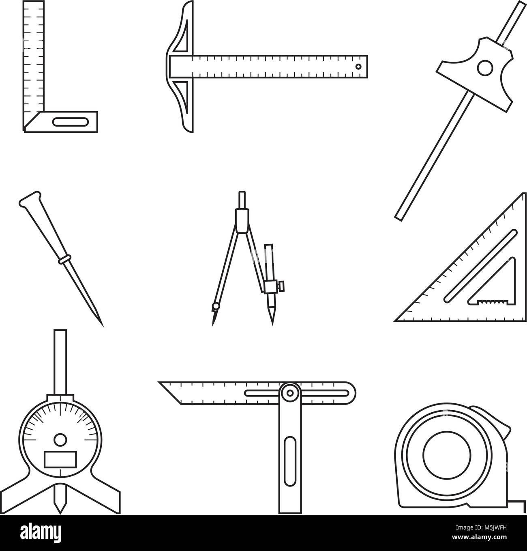 satz von werkzeug messen. abstand, winkel. vektor zeile für symbole