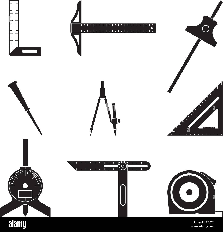 werkzeug messen vektor icon set. winkel und abstand vektor abbildung