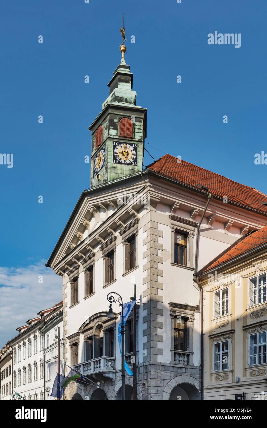 Das alte Rathaus Ljubljana befindet sich auf dem Rathausplatz (Mestni trg). Es wurde im 15. Jahrhundert von dem Stockbild