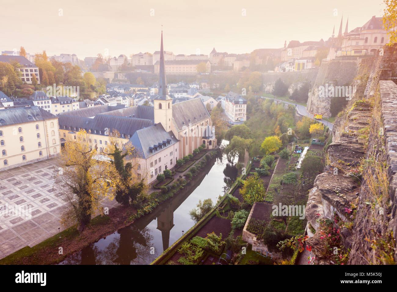 Neumünster Abbey in Luxemburg Stadt. Die Stadt Luxemburg, Luxemburg. Stockbild