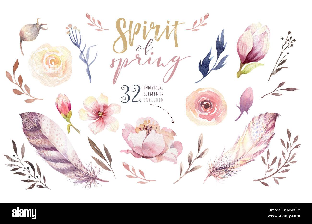 Boho Blumen Gesetzt Bunte Mit Blumenmustern Sammlung Mit Blatter