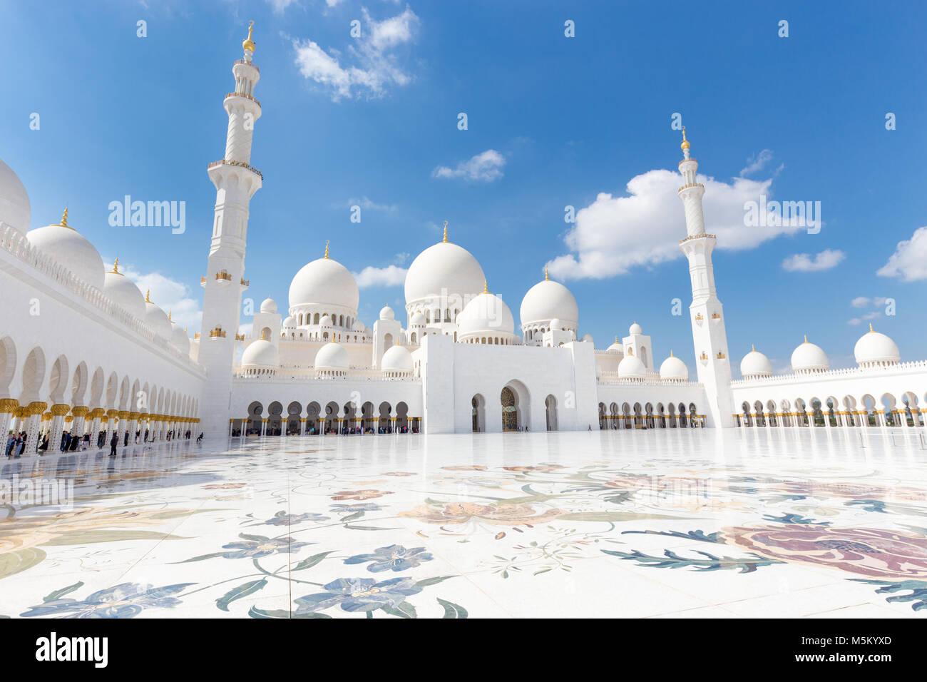 Sheikh Zayed Grand Mosque, Abu Dhabi, Vereinigte Arabische Emirate. Stockbild