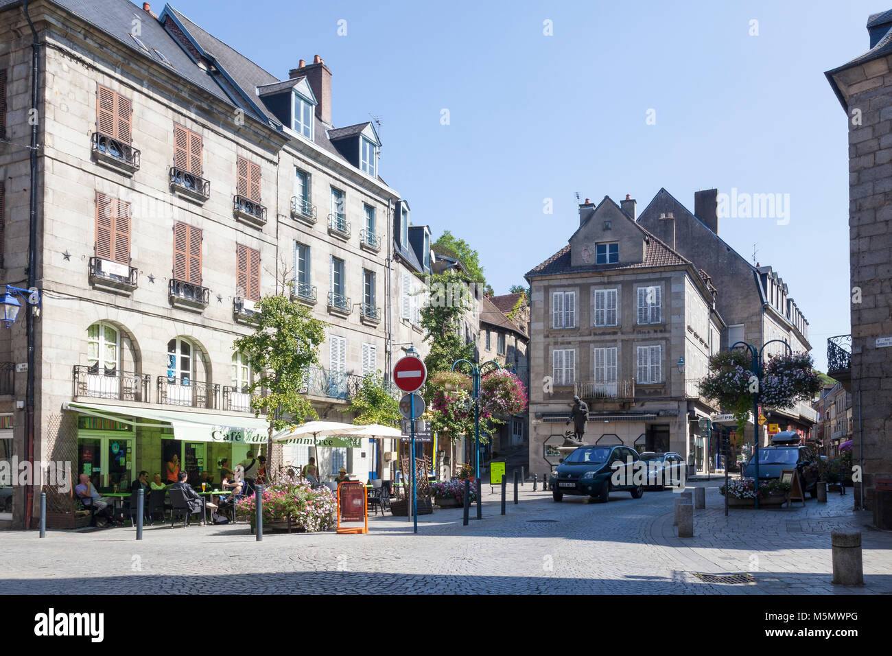 Zentrum von Aubusson, Nouvelle-Aquitaine, Frankreich, im Herzen des 550 Jahre alten französischen Wandteppich Stockbild