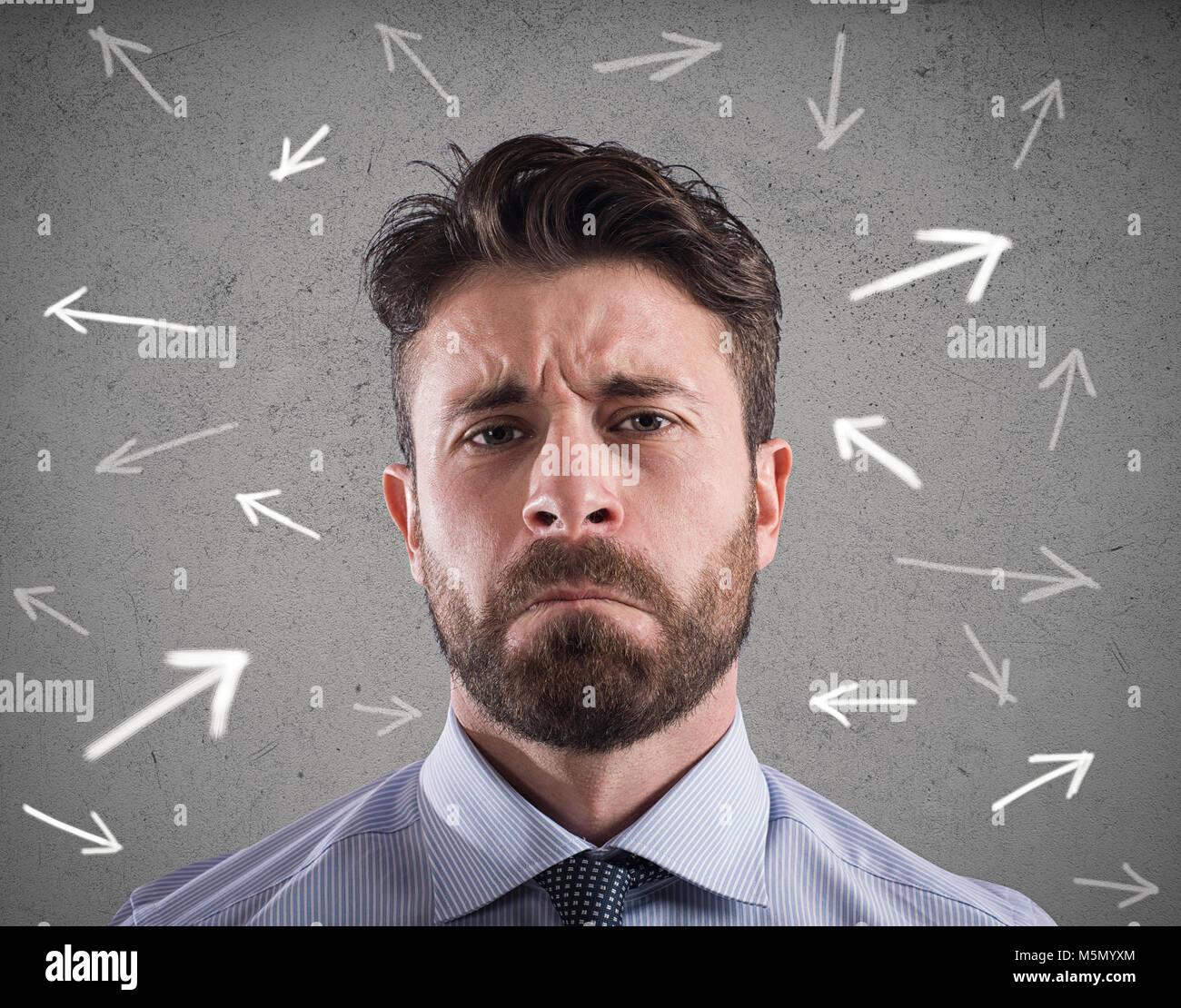 Schwierige Entscheidungen eines Unternehmers. Konzept der Verwirrung Stockbild