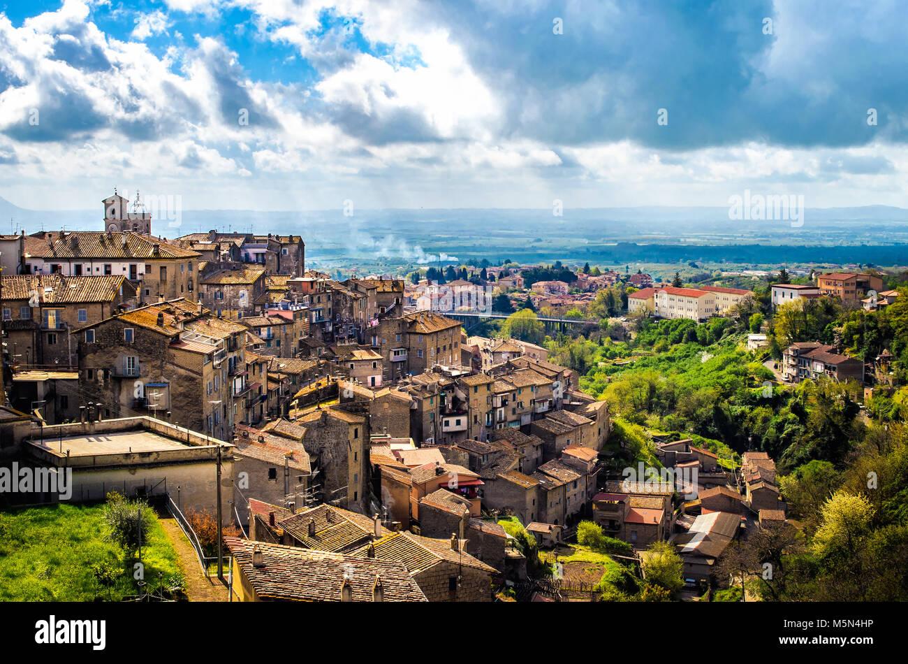 Caprarola latium Village Panorama - Landschaften der Provinz Viterbo - Italien Stockbild