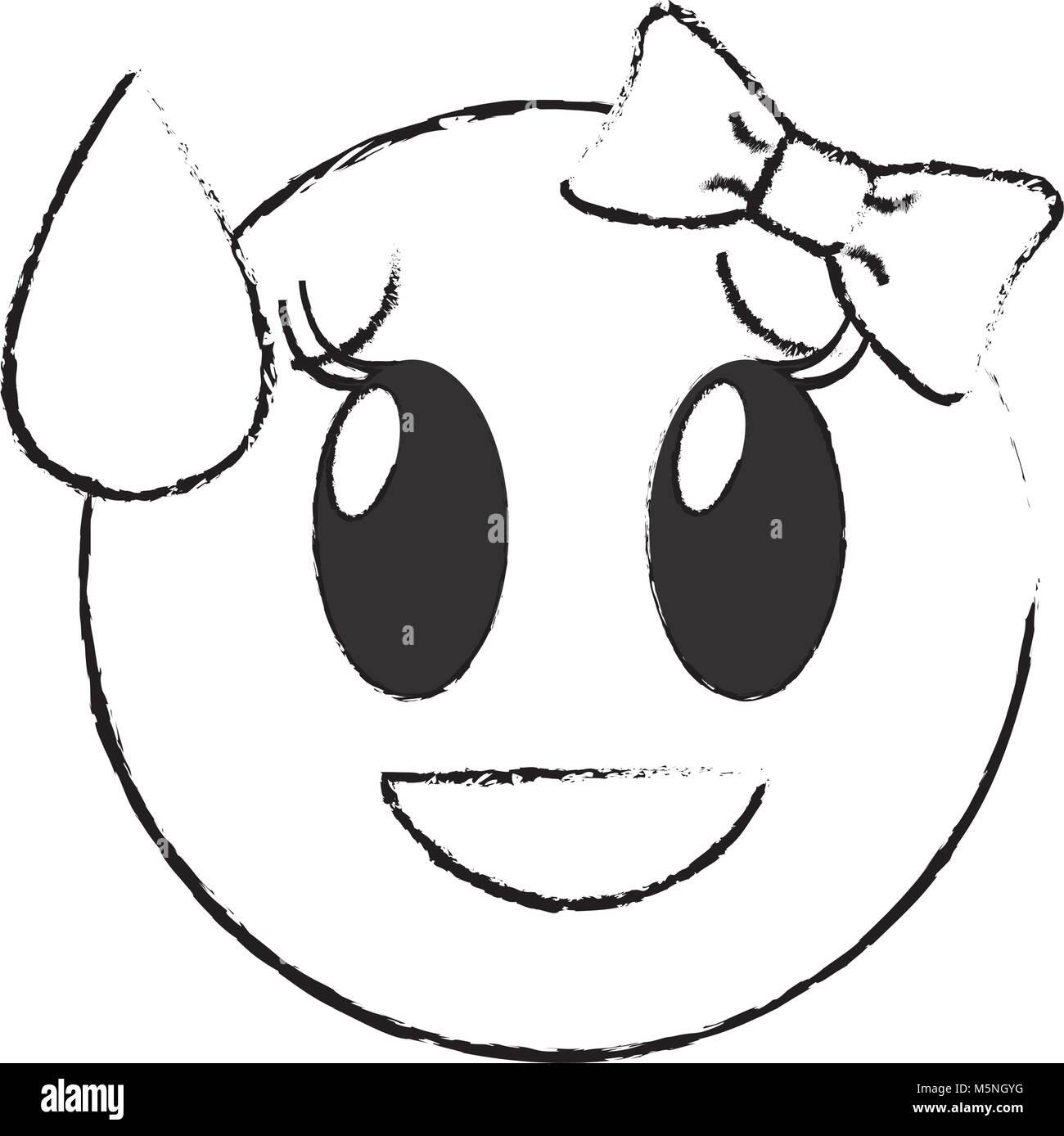 Grunge Scham Lachen Weiblichen Emoji Ausdruck Mit Schleife Vector Illustration Vektor Abbildung Bild 175651268 Alamy