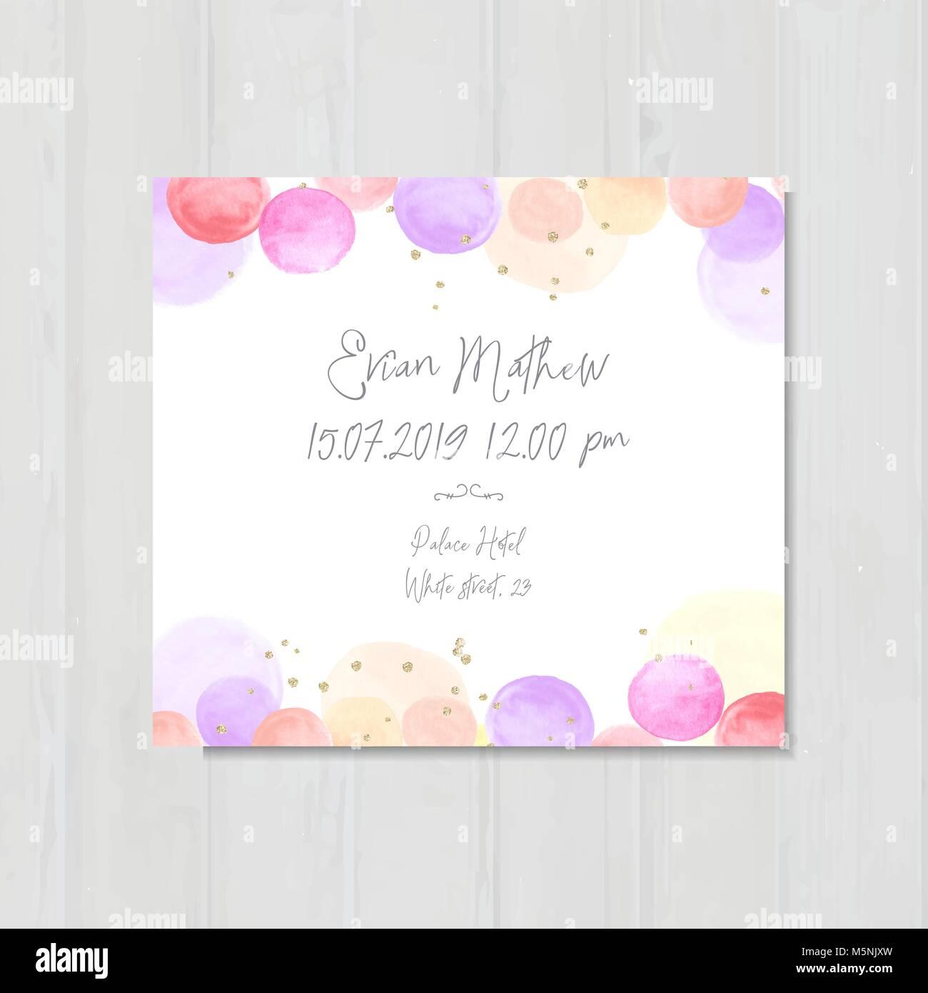 Baby-dusche-Einladung Vorlage, einladen, Karte, Aquarell blasen ...