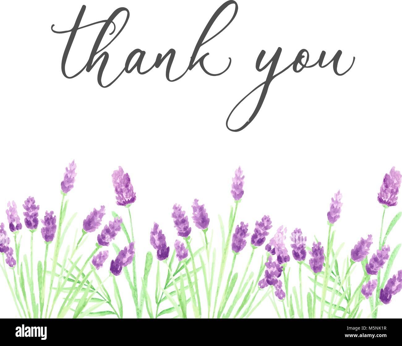 Danke Karte Vorlage mit Hand gezeichnet Purple Aquarell Blumen ...
