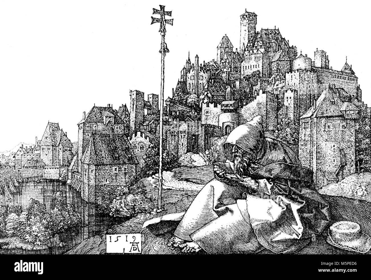 St. Antonius der Einsiedler, im Hintergrund einer mittelalterlichen deutschen Stadt Landschaft. Wiedergabe von einem Stockbild