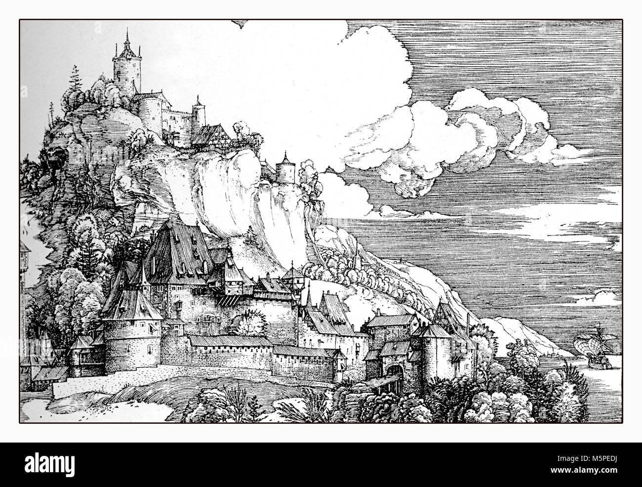 Deutsche mittelalterliche Landschaft mit Schloss, Reproduktion von einem kupferstich von Albrecht Dürer, 16. Stockbild