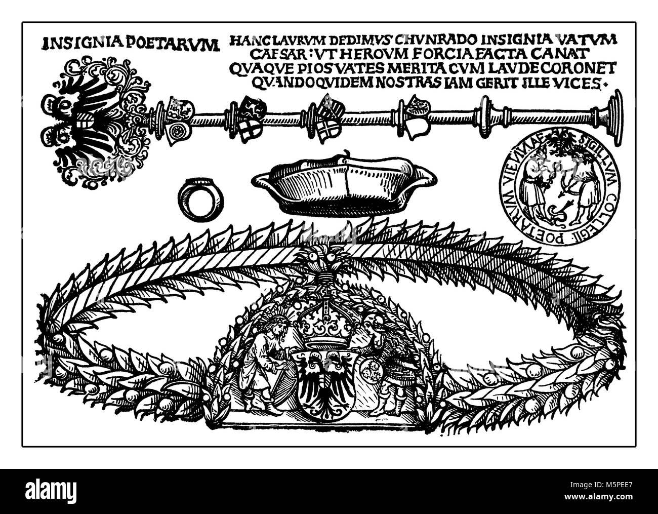 Royal Court poet Insignia, Reproduktion von Albrecht Dürer Kupferstich, Deutschland, 15. Jahrhundert Stockbild