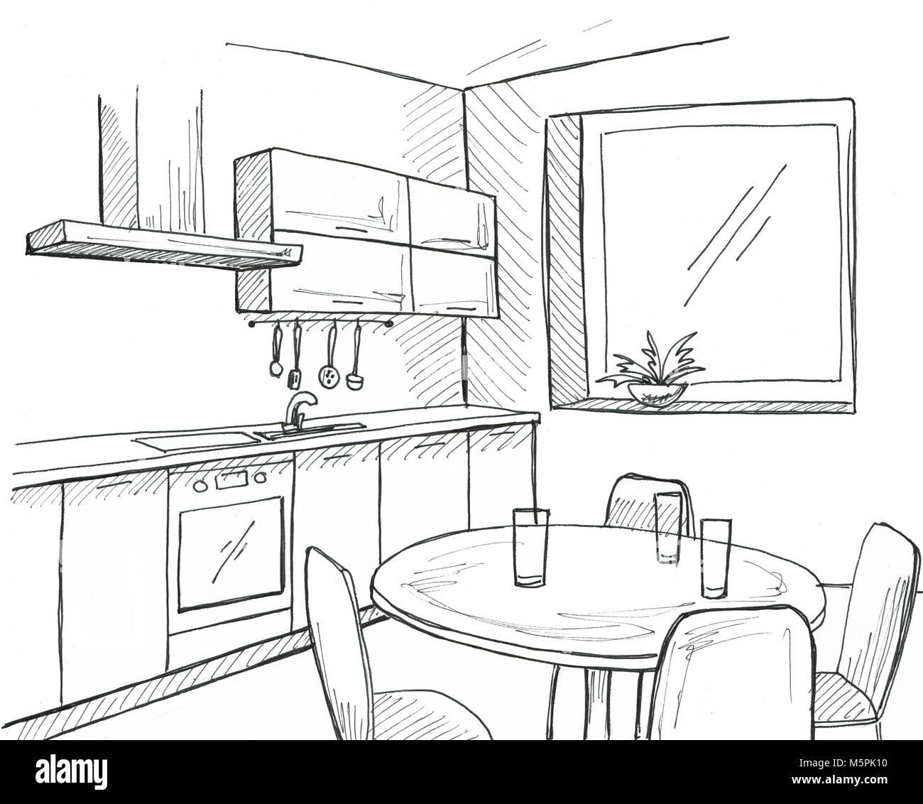Hand gezeichnet Küche mit Fenster. Skizze mit einem Stift