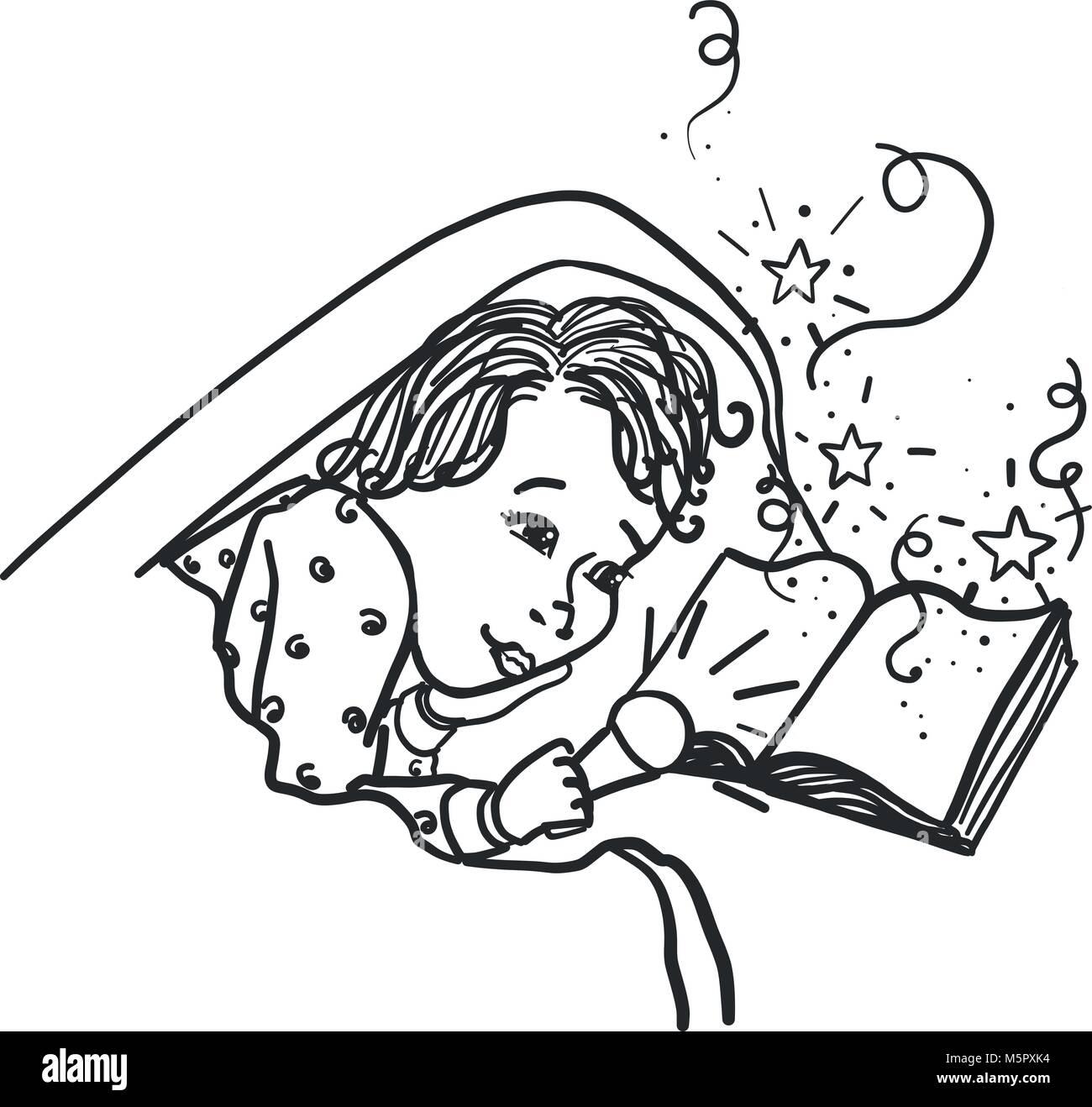 kind unter der bettdecke mit der taschenlampe ein buch lesen tr ume m rchen zum leben kommt. Black Bedroom Furniture Sets. Home Design Ideas