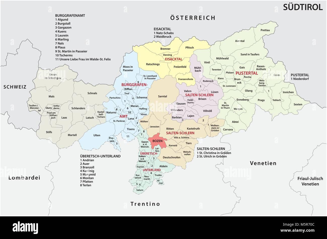 Administrative und politische Karte von der italienischen Provinz Südtirol in deutscher Sprache Stockbild