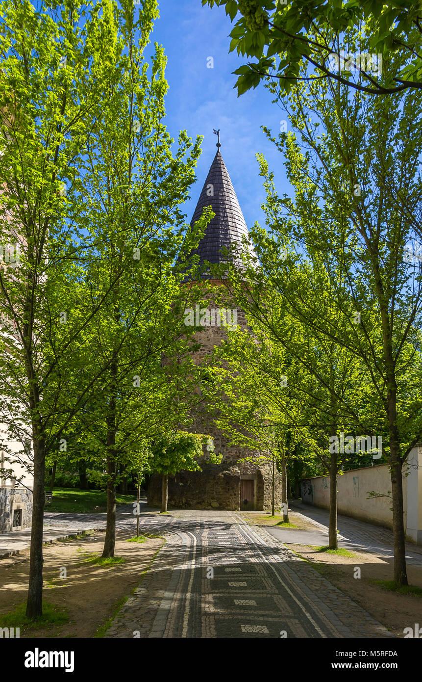 Klatovy, Tschechien - alte Bastion Turm der mittelalterlichen inneren Stadtbefestigung. Stockbild