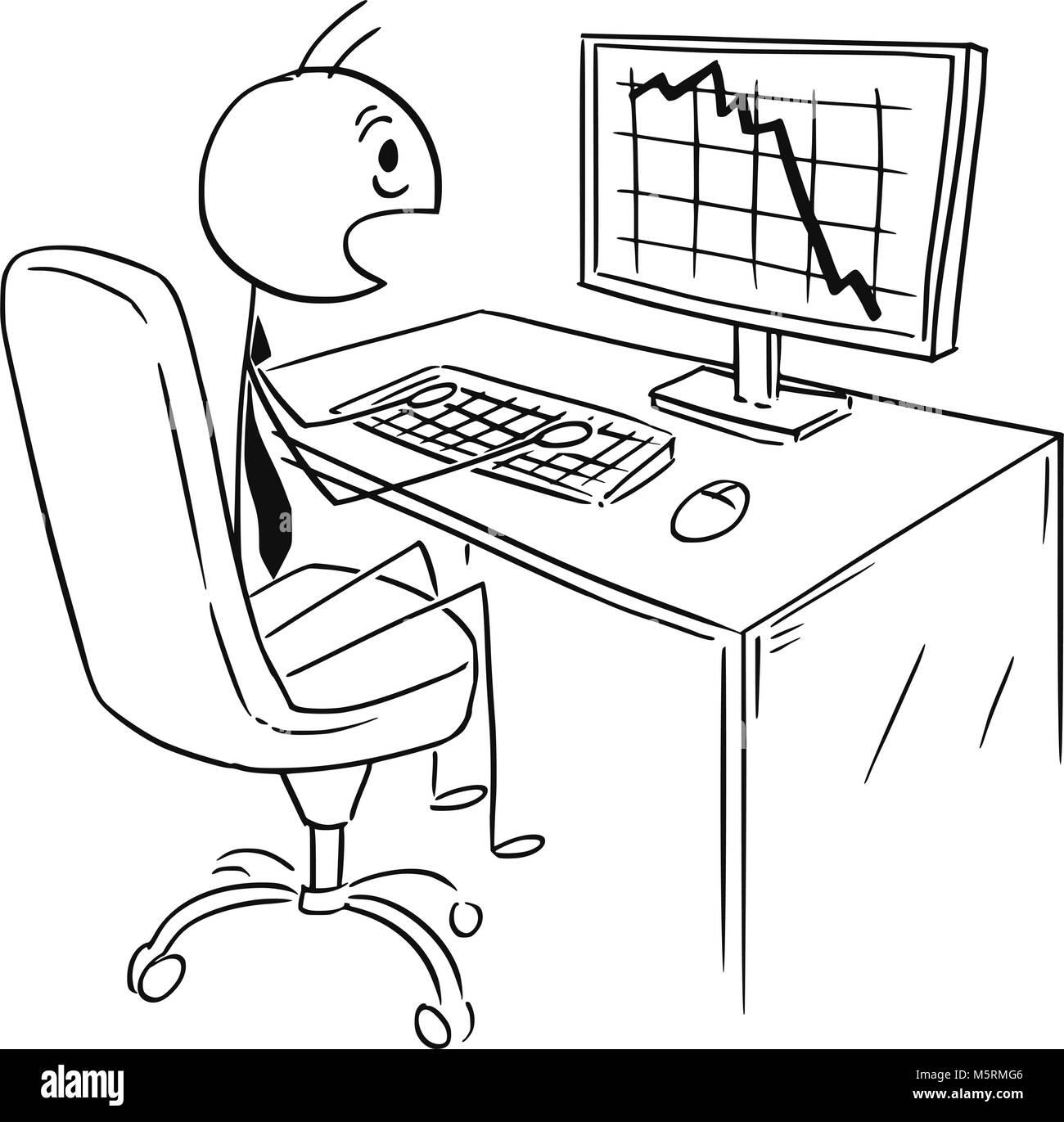 Cartoon der Unternehmer von Markt-, Gewinn- oder Kosten Tabelle oder Grafik Falling Down Schockiert Stockbild