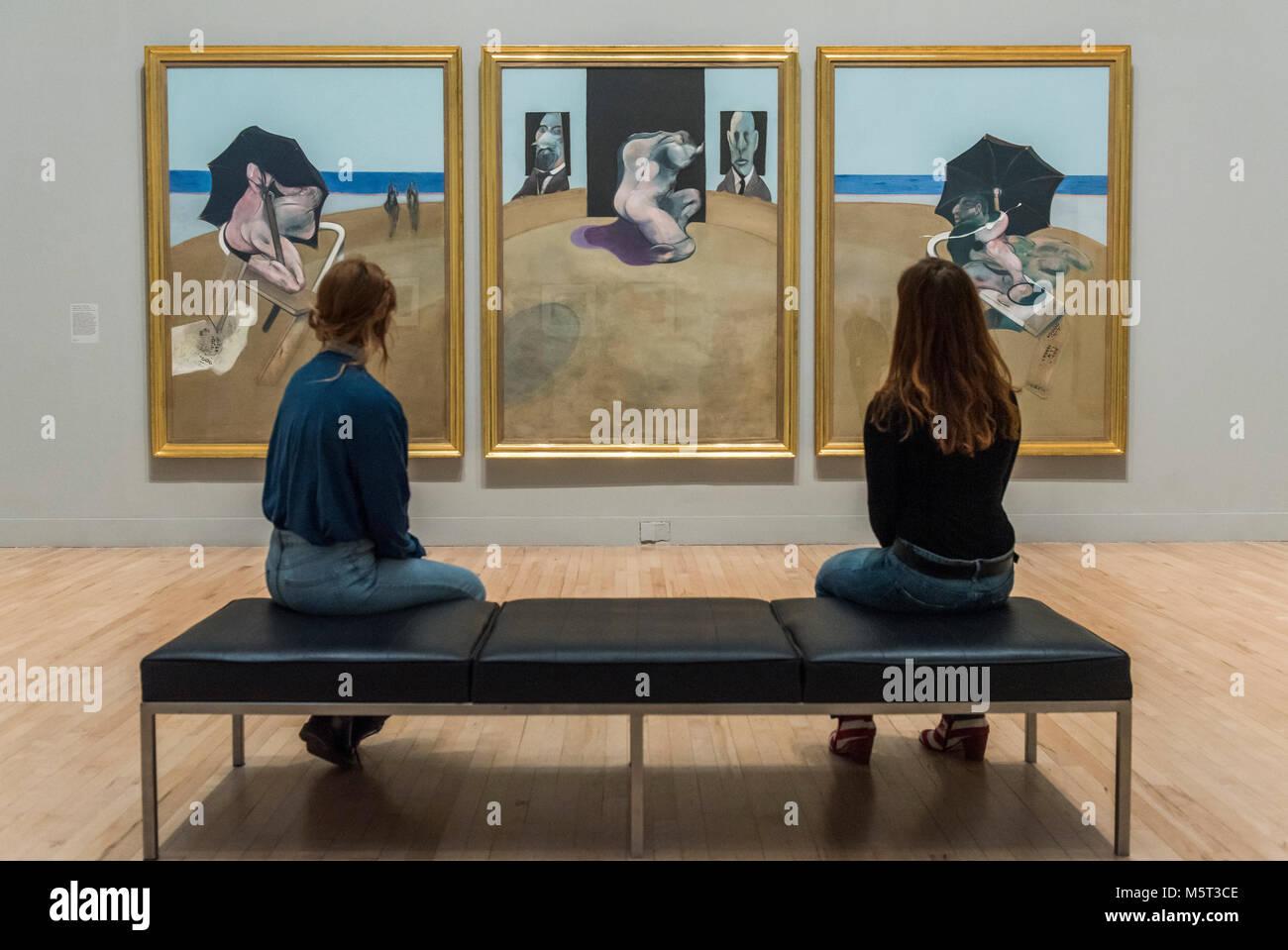 London, Großbritannien. 26. Februar, 2018. Tryptych 1974-77 von Francis Bacon - Allzu menschlich: Speck, Freud Stockbild