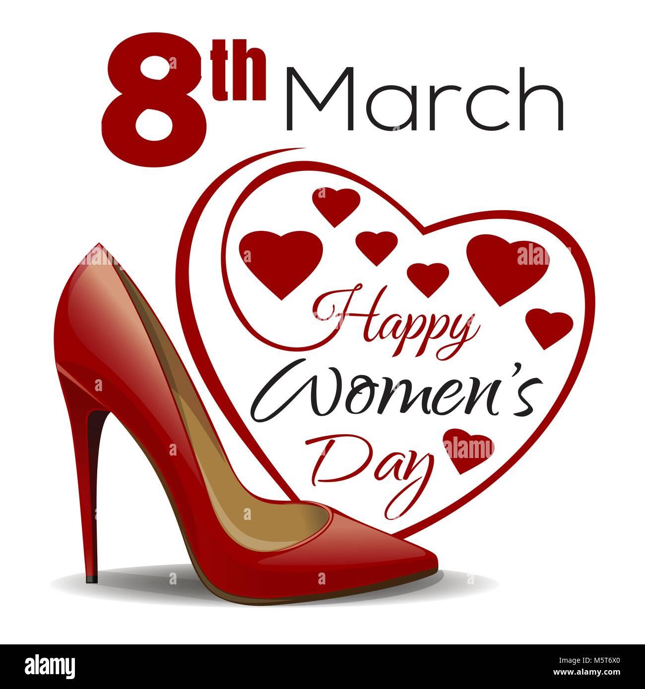 8. März. Happy Tag der Frauen. Schriftzug im Hintergrund Rahmen der ...