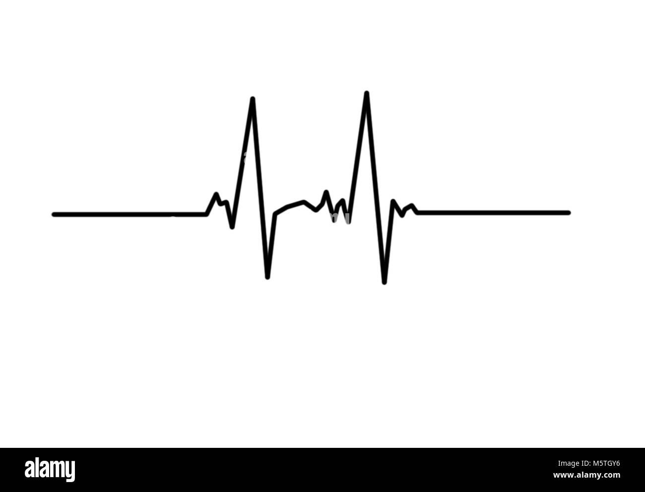 Heartbeat Symbol Life Line Elektrokardiogramm Abbildung Stockfoto