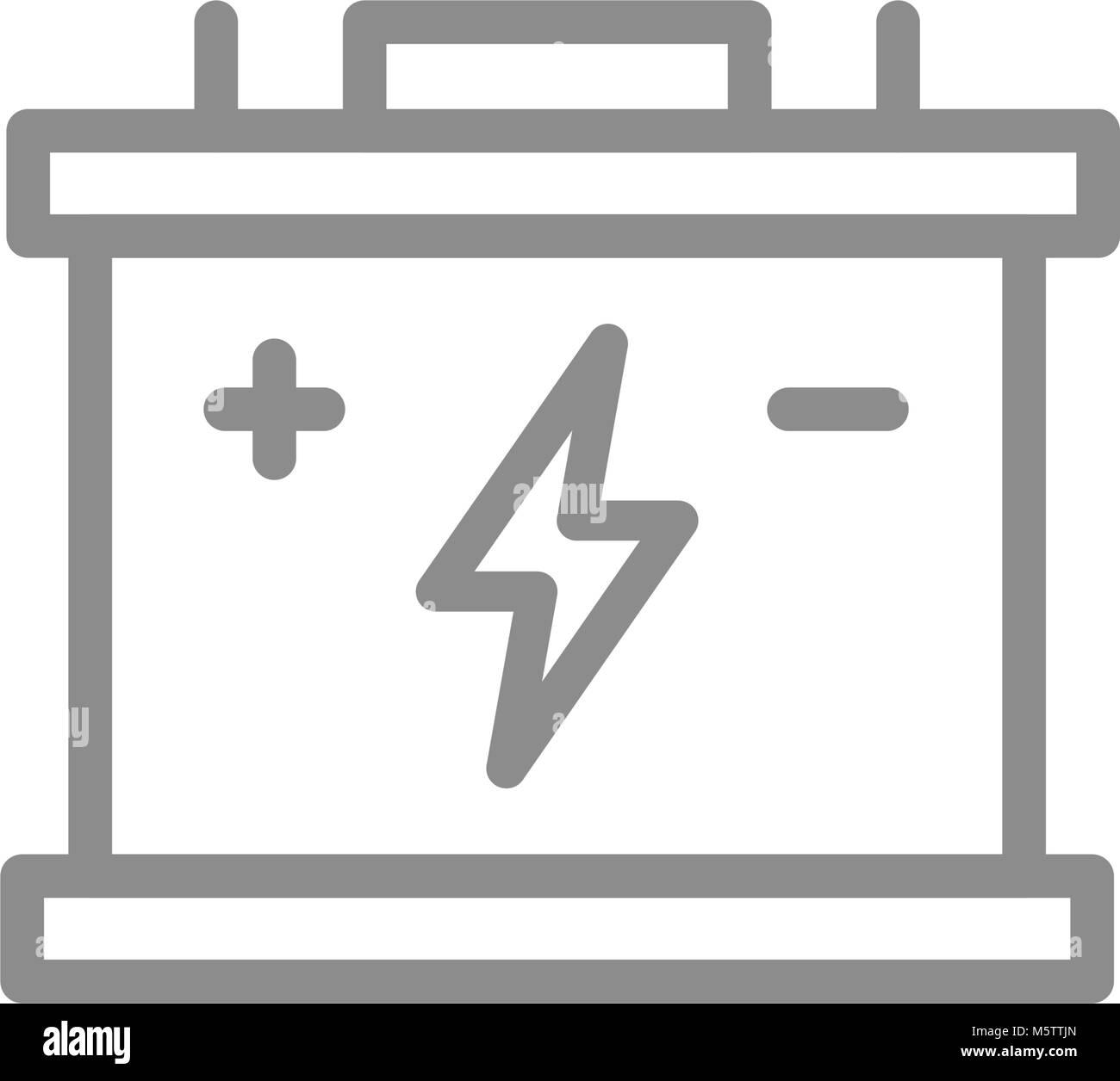 Einfaches Auto Batterie, Akkumulator Symbol Leitung. Symbol und ...