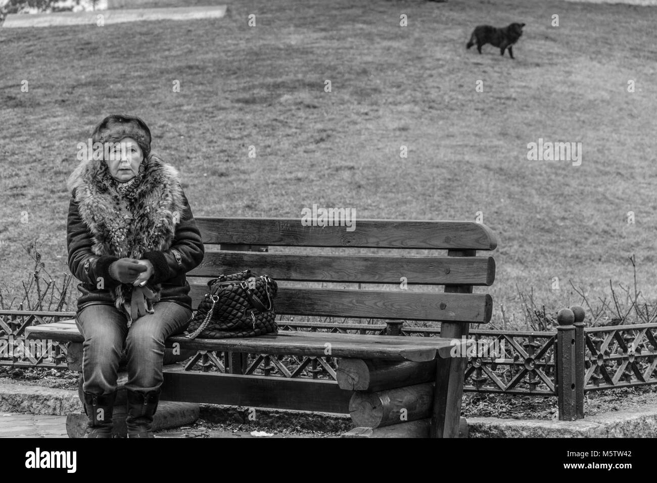 Einsame ältere Frau auf einer Bank im Park, Schwarze und Weiße reportage Foto Stockbild