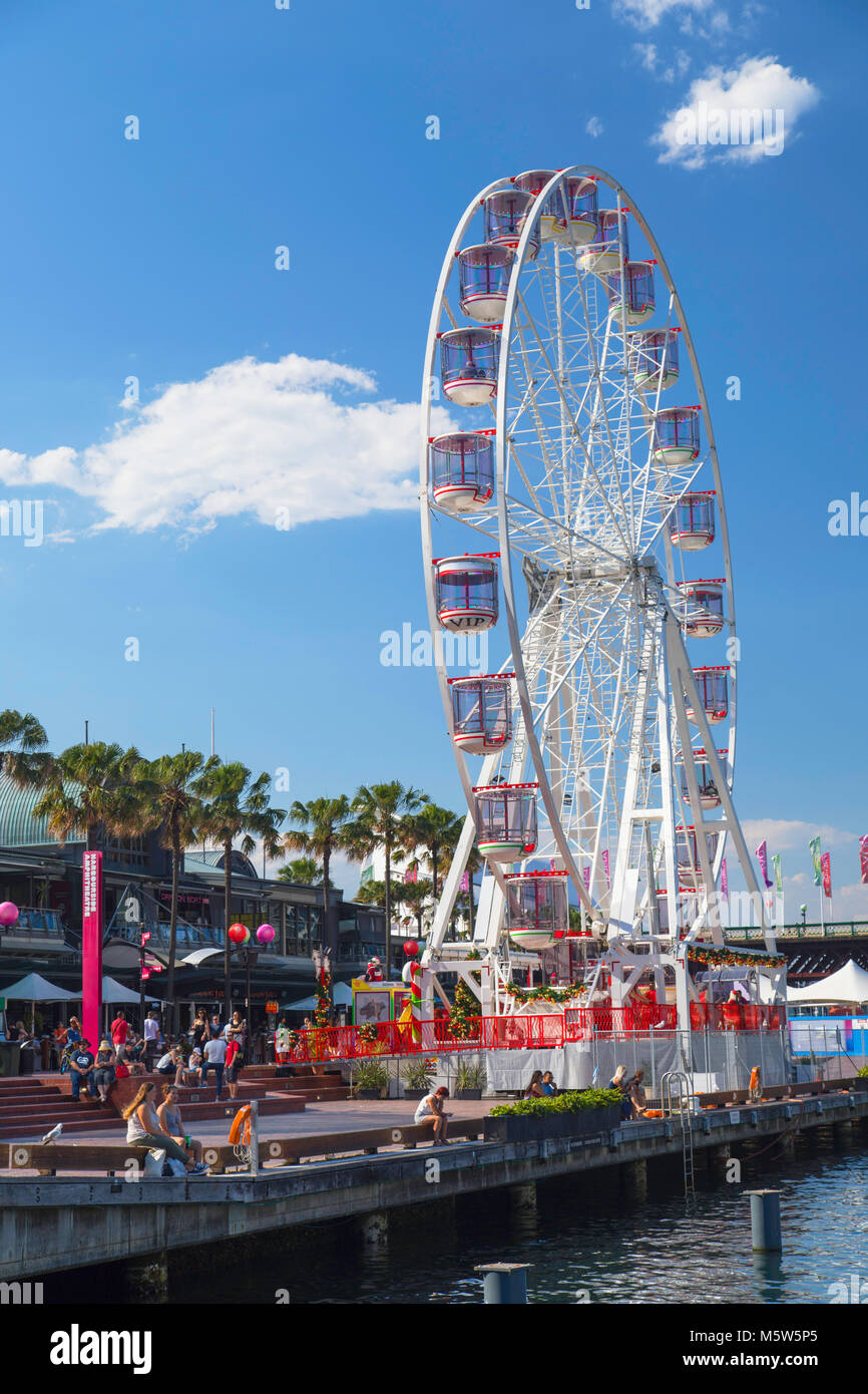 Riesenrad in Darling Harbour, Sydney, New South Wales, Australien Stockbild