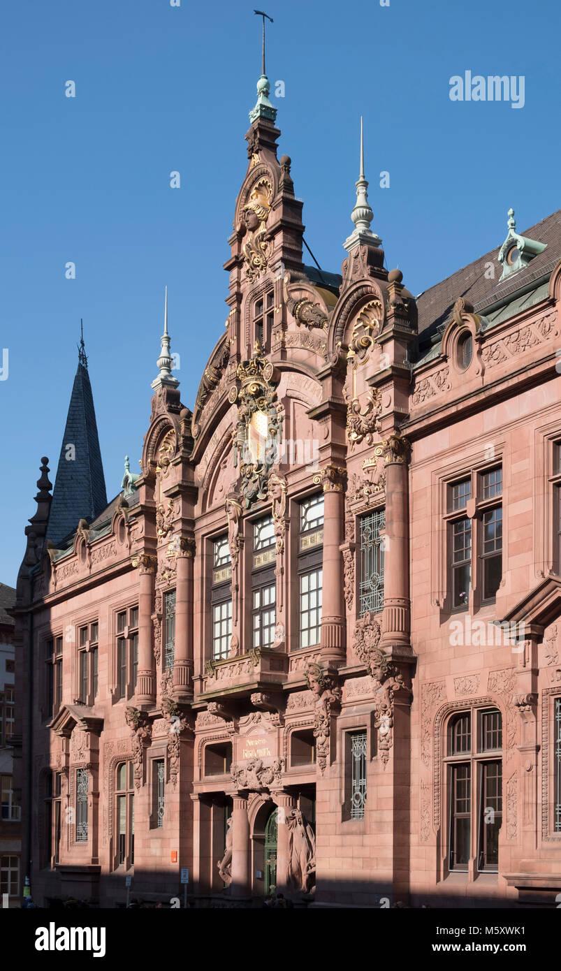 Heidelberg, Alte Universität, Universitäts-Bibliothek, Fassade 1905 von Josef Durm erbaut Stockbild