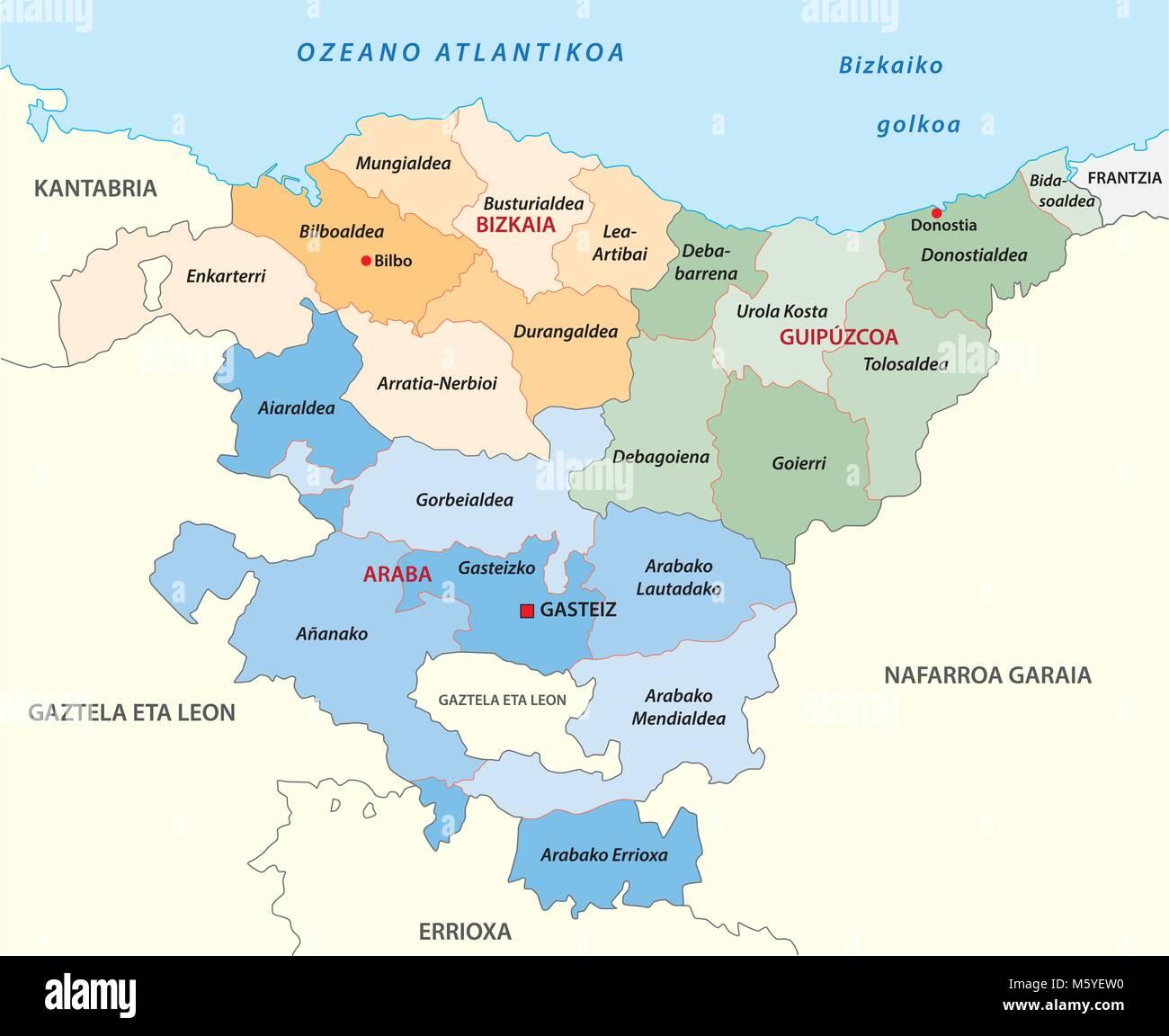 Baskenland administrative und politische Vektorkarte in der baskischen Sprache Stockbild