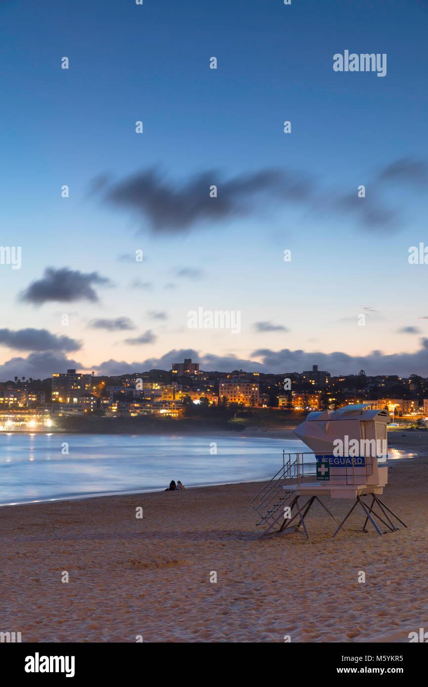 Bondi Beach bei Sonnenuntergang, Sydney, New South Wales, Australien Stockbild