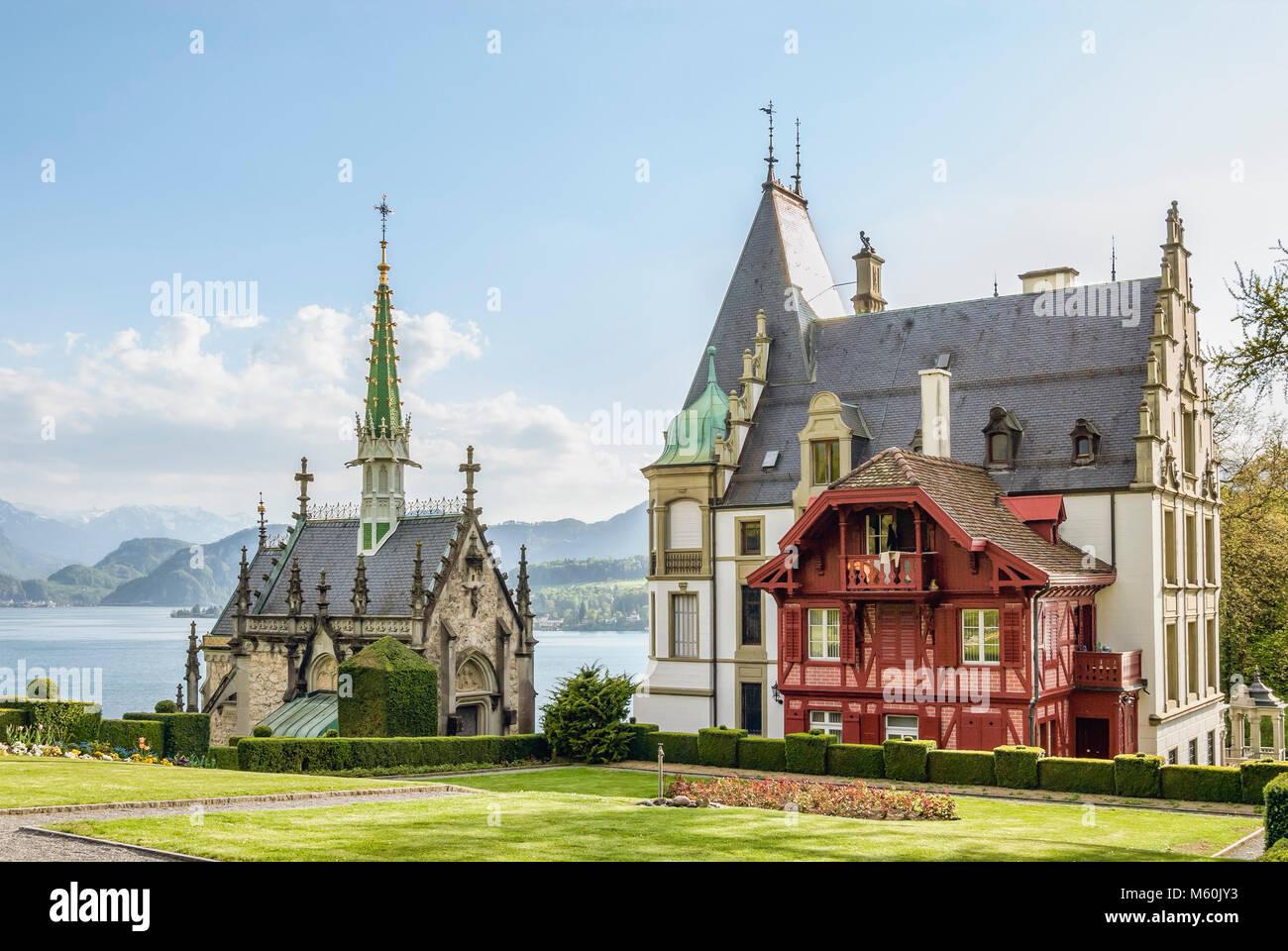 Schloss Meggenhorn am Vierwaldstättersee, Meggenhorn in der Nähe von Luzern, Schweiz | Schloss Meggenhorn Stockbild