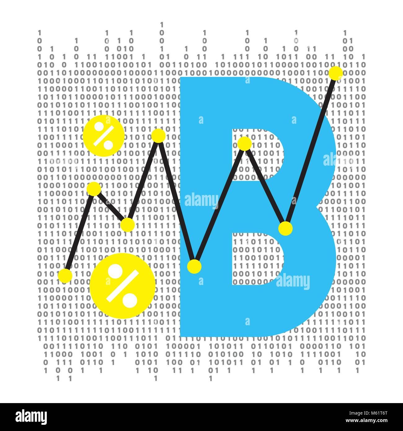 Vektor abstrakte Darstellung. Bitcoin Technologie Stockbild