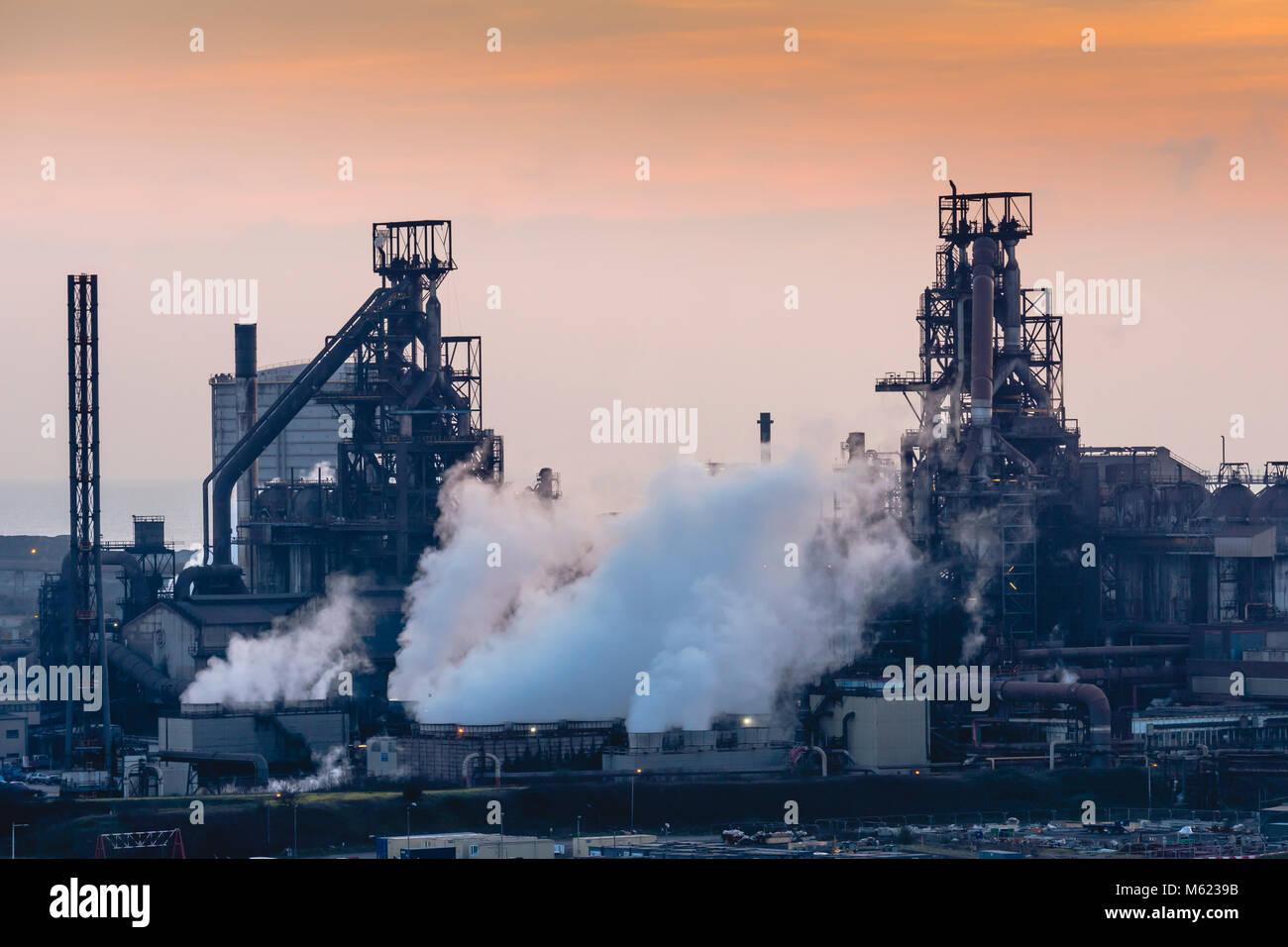 Port Talbot Stahlwerk Tata Steel Port Talbot West Glamorgan Wales Stockfoto