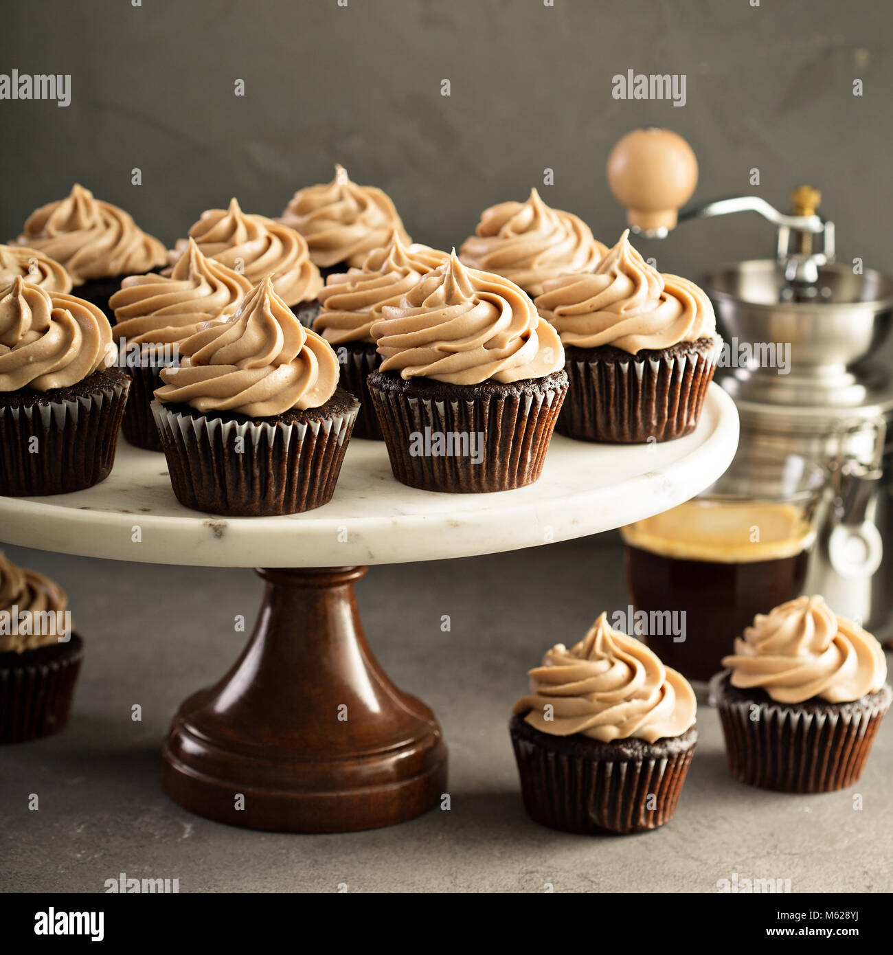 Schokolade espresso Muffins Stockbild