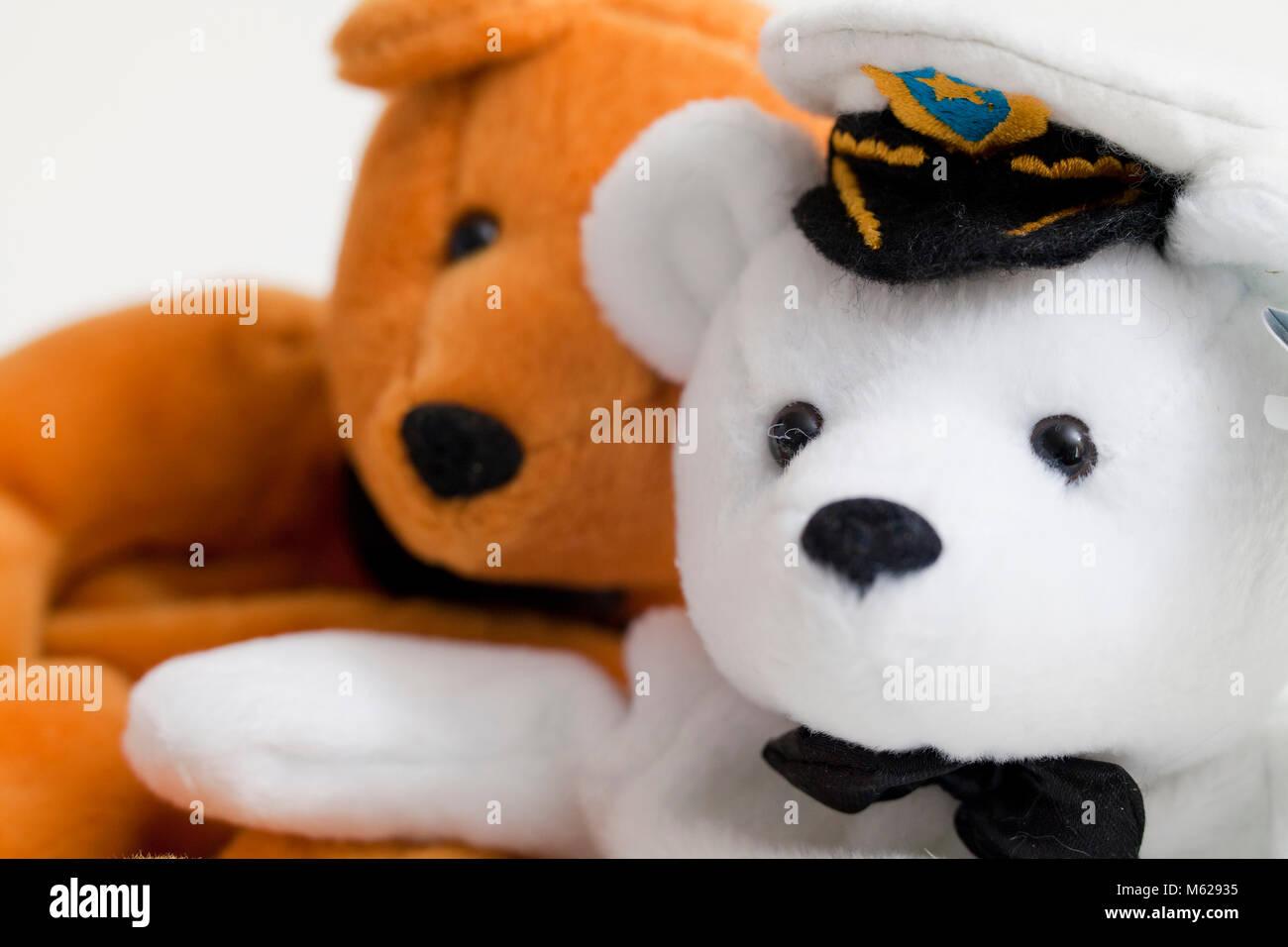 Zwei verschiedene Farben von Teddybären closeup (teddybär Gesichter ...