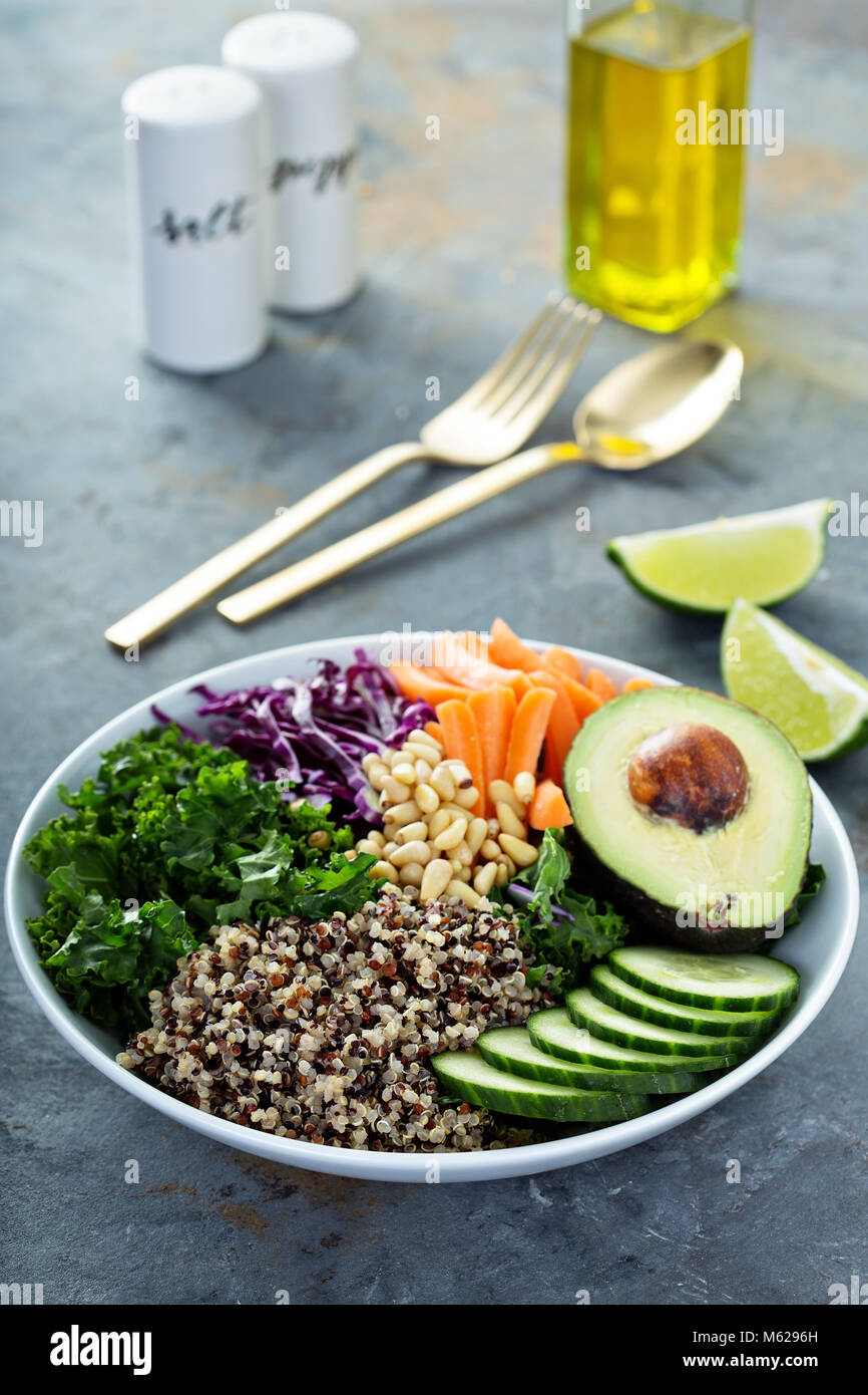 Vegan Schüssel mit Gemüse und Quinoa Stockbild