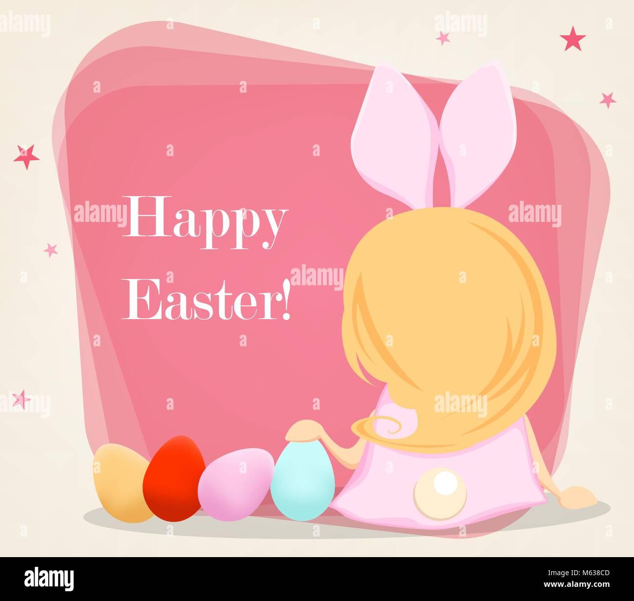 Frohe Ostern Süße Mädchen In Ein Kostüm Von Kaninchen Sitzt In Der