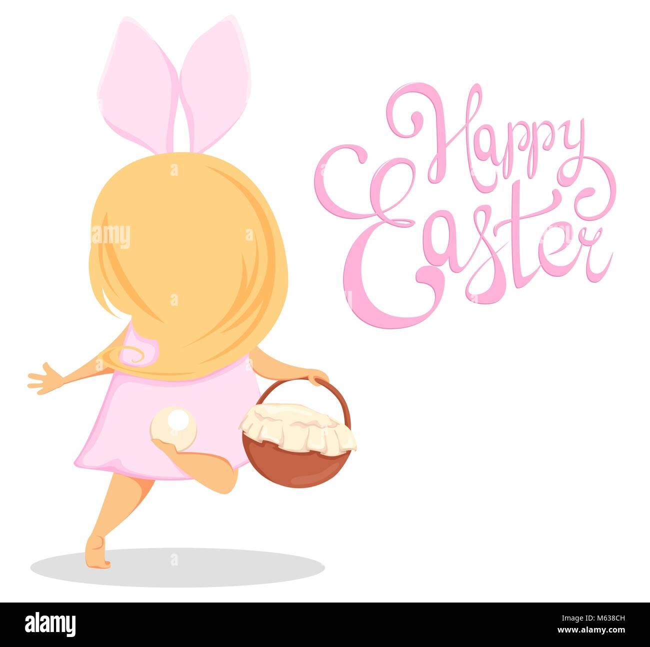 Frohe Ostern Süße Mädchen In Einem Kostüm Der Hase Mit Einem Korb