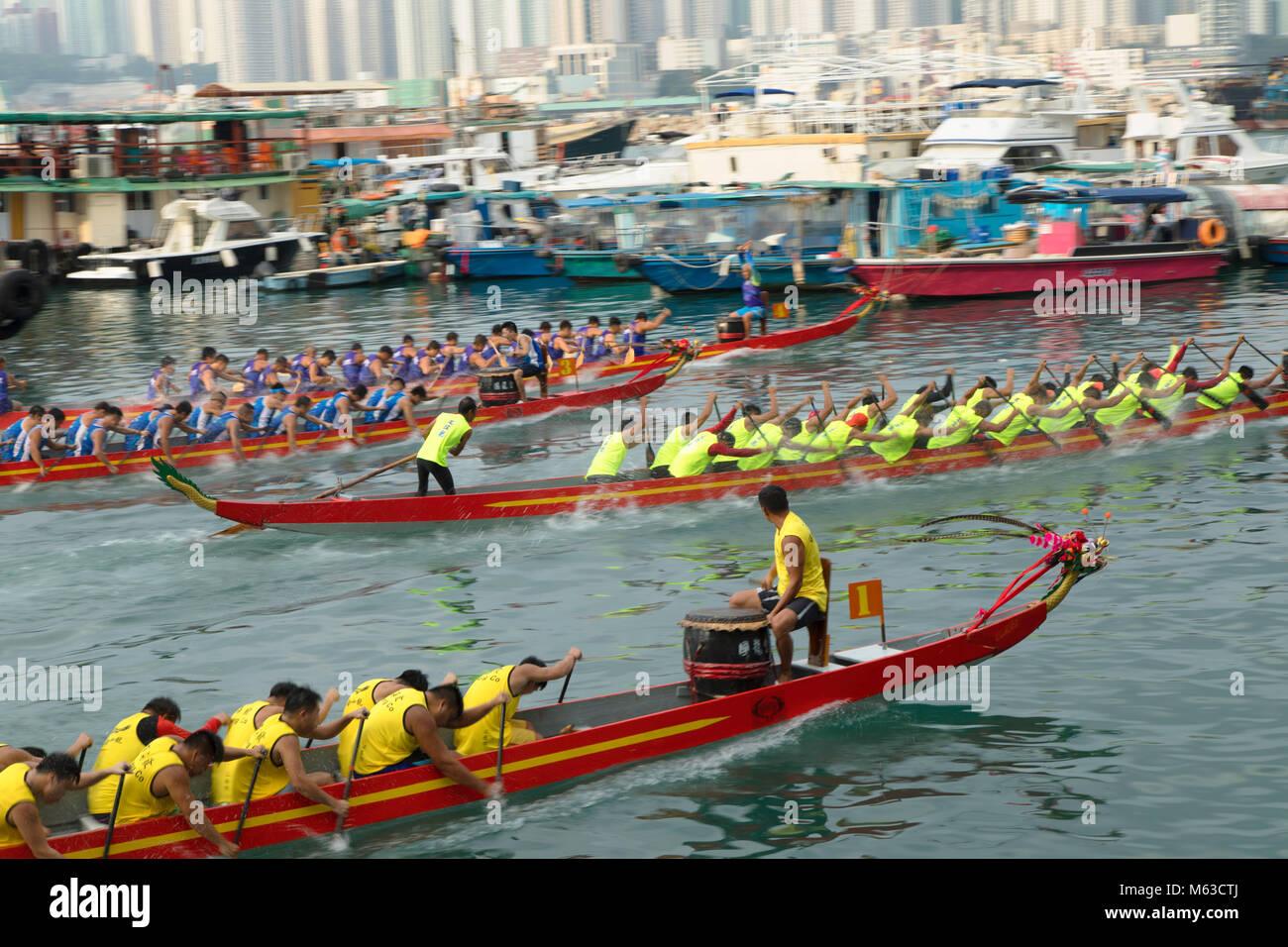 Drachenbootrennen, Shau Kei Wan, Hong Kong Island, Hong Kong, China Stockbild