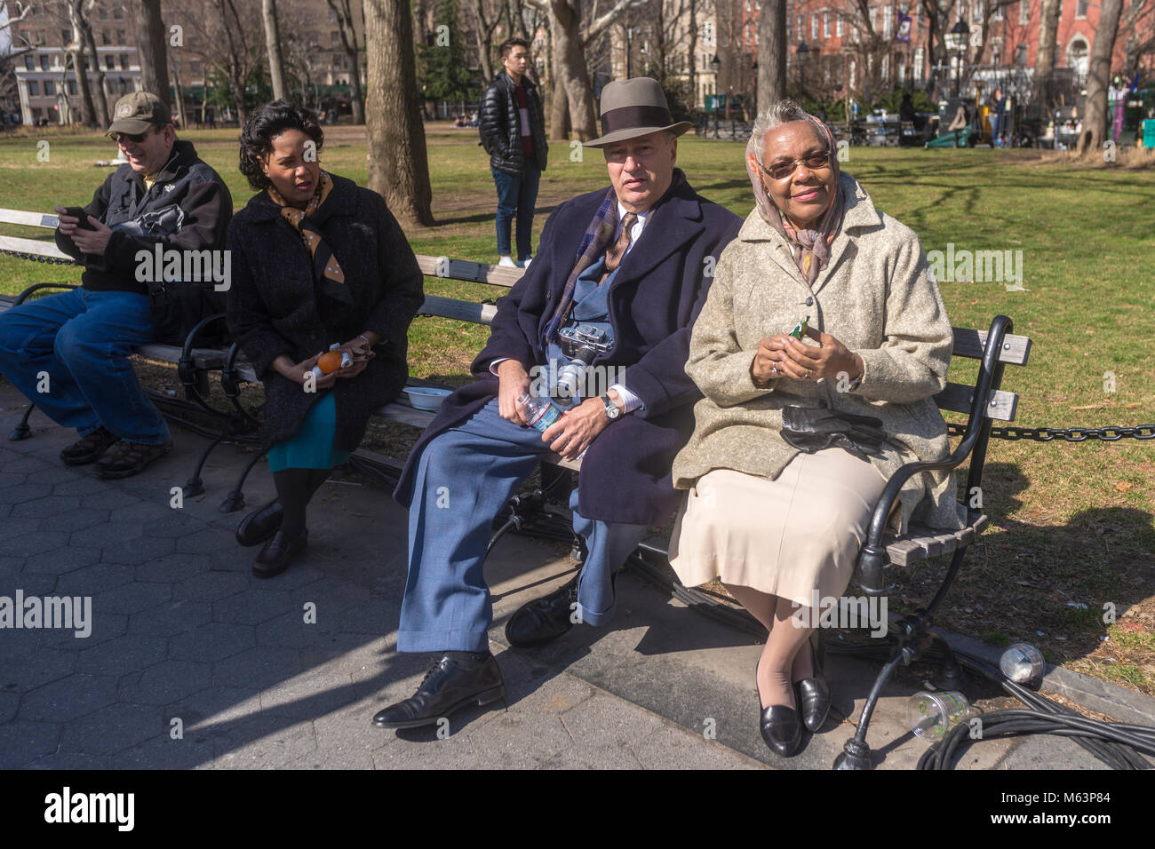 "New York, NY, USA, 28. Februar 2018 - vor Ort bei den Dreharbeiten zu ""Motherless Brooklyn, am Washington Square Stockbild"