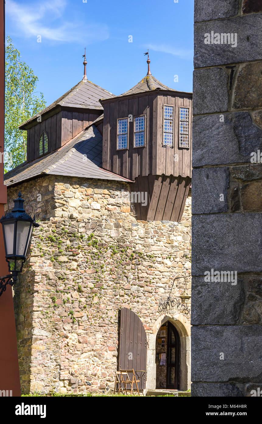 Klatovy, Tschechien - Gebäude der alten historischen mittelalterlichen Stadtbefestigung. Stockbild