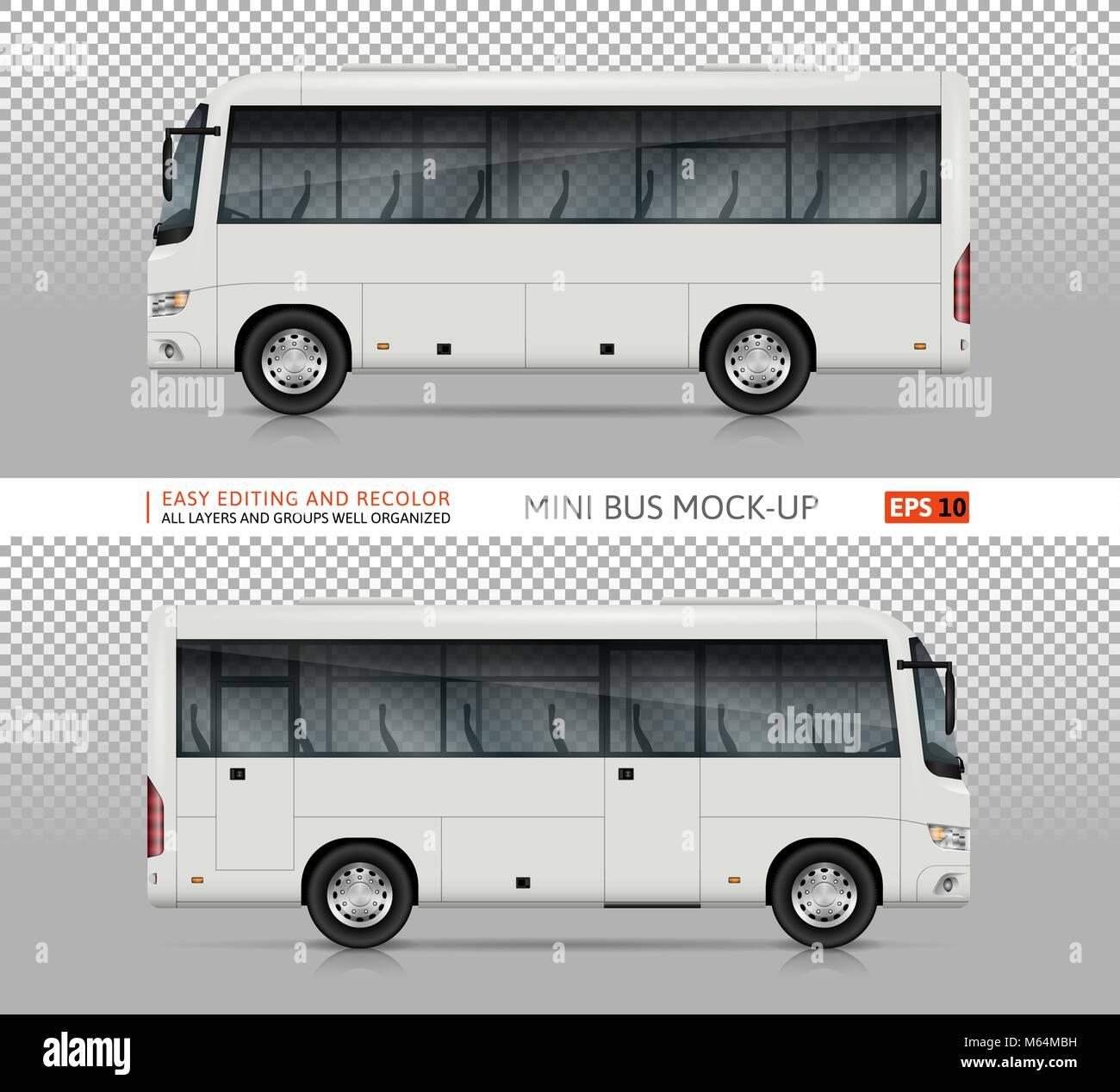 Bus vektor Mock-up. Isolierte Vorlage von realistischen City ...