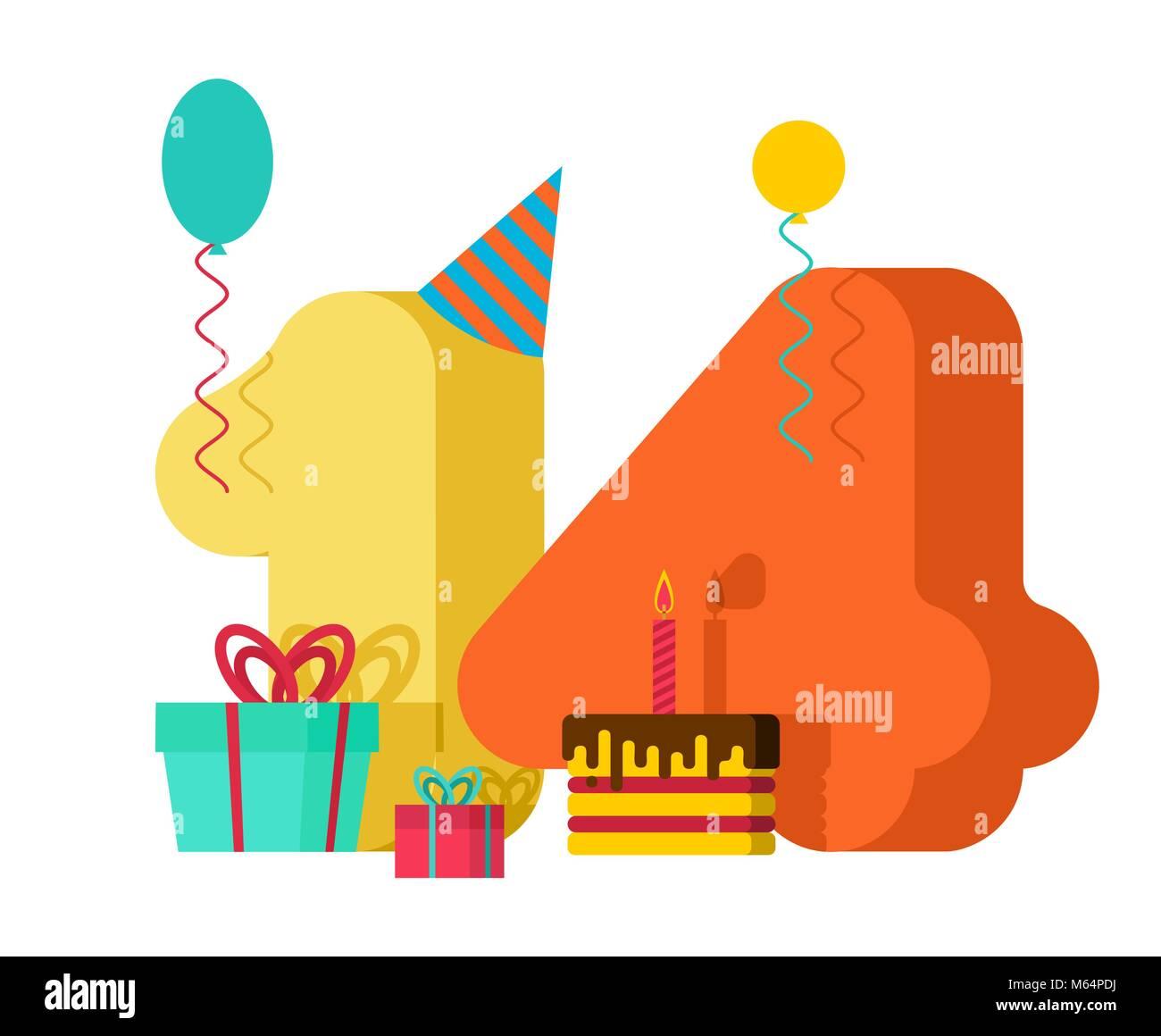 14 Jahre Grußkarte Geburtstag 14 Jahrestag Feier Vorlage Vierzehn
