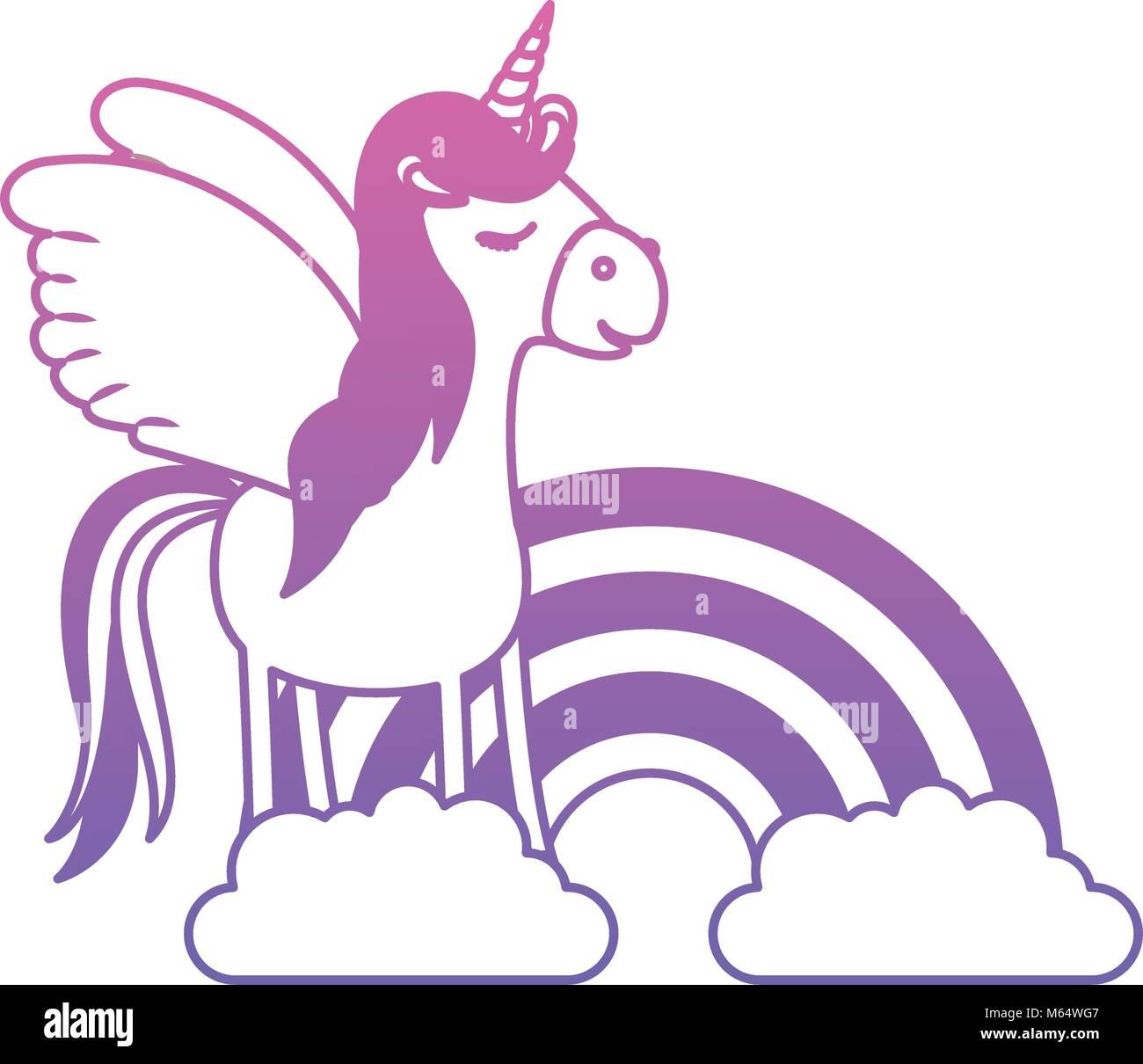 Susse Einhorn Mit Rainbow Kawaii Charakter Vektor Abbildung Bild